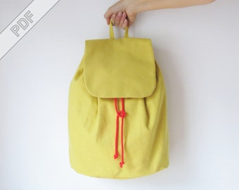 sewing tutorial with sewing pattern for a minimalistic backpack No. 3 with drawstring, PDF eBook
