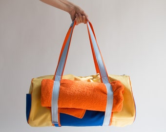 sewing pattern and tutorial for a yoga beach duffle bag roll bag