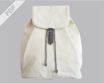 sewing tutorial with sewing pattern for a backpack with drawstring, PDF eBook