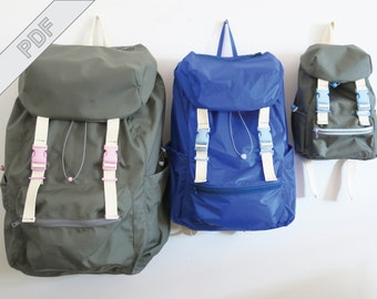 Sewing tutorial with pattern for backpack No. 2 in 3 sizes for women, men and kids, for city and outdoors, MYOG