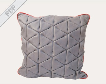 sewing tutorial with sewing pattern for a pillow with piping, leather front and fabric back, PDF eBook