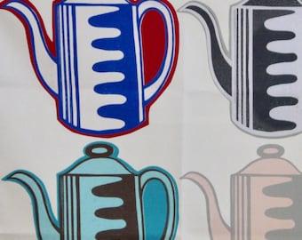 Vintage Coffee Pot tea towel -white background