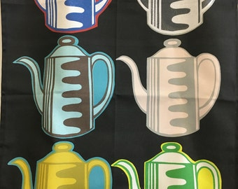 Vintage Coffee Pot tea towel -black background