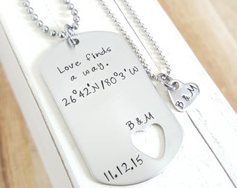 Long Distance Relationship Military Gift Hand Stamped Necklace Stainless Tag Jewelry Boyfriend Girlfriend