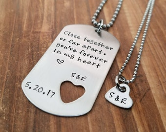 Couples Necklace Set Stainless Steel Military Style Dog Tag Hand Stamped Jewelry Boyfriend Gift Girfriend Friend Long Distance Relationship