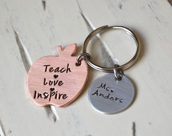 Teacher appreciation  keychain Teach Love Inspire hand stamped mixed metal apple keychain personalized