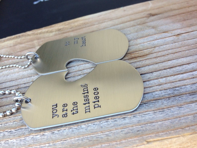 Couples Necklace Set Dog Tag with Heart Cutout Her One His