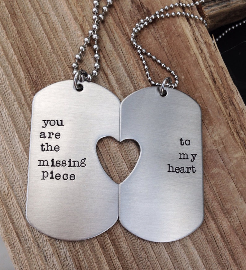 Custom military dog tag hand stamped his and her set you
