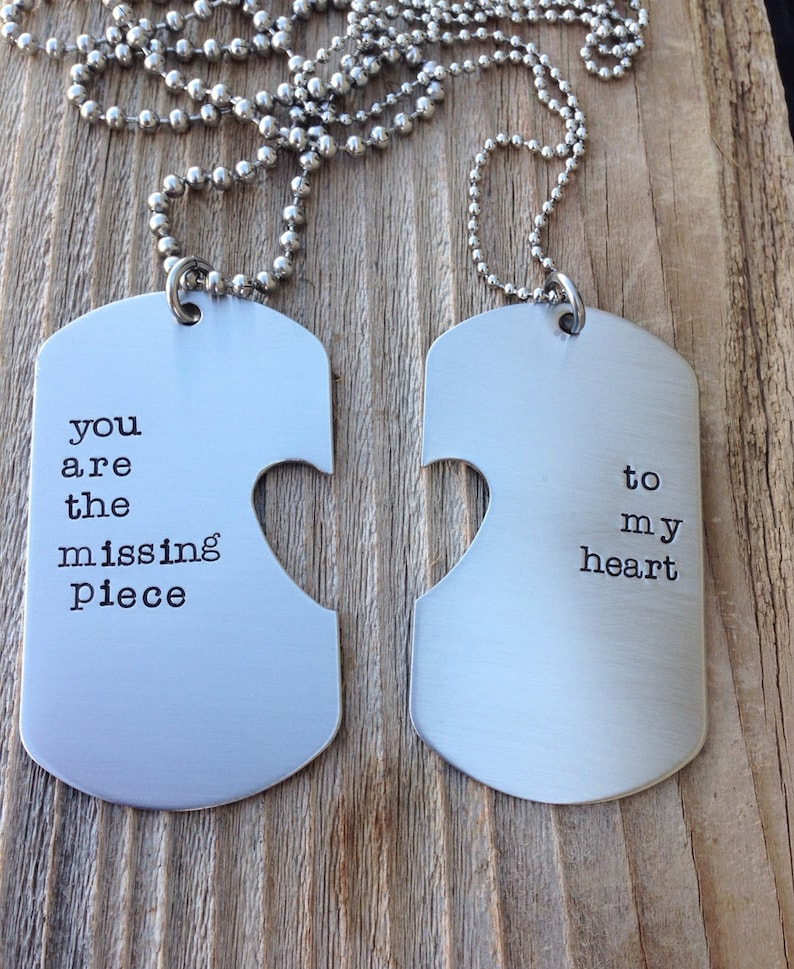 Customizable Hand Stamped Dog Tag With Heart Cut Out with