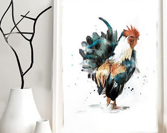 Illustration of a rooster print on paper drawing, mixed media (paint, pastels, pencils...).