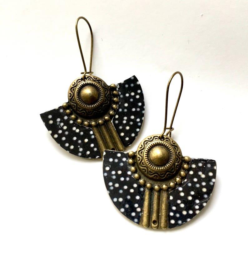 white polka dots on black background Earrings ethnic half moon Bronze and resin.