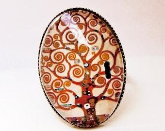 """Cabochon ring adjustable """"Klimt"""". Bague ovale : arbre de vie de Klimt"""