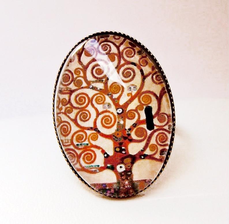 Bague ovale arbre de vie de Klimt Cabochon ring adjustable Klimt