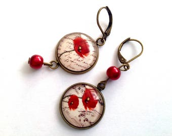 Earrings asymmetric poppies and writes romantic vintage dangling bronze.