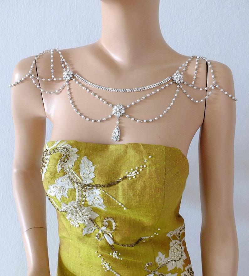 SWAROVSKI Bridal shoulder necklace for wedding bridesmaid image 0