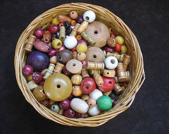 Miscellaneous Wooden beads 3 ounces 5mm - 25mm