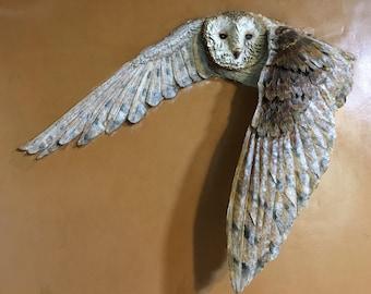 Unique 3D Leather Sculpture - Barn Owl