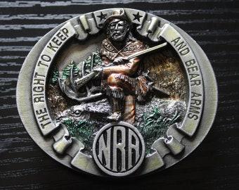 Vintage Bergamot NRA Pewter Belt Buckle 1995 Frontiersman Bear Arms