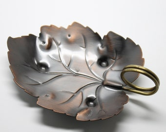 Coppercraft Guild Leaf Copper Tray with Brass Wire Handle