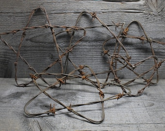 Rusty Barb Wire Handmade Stars and Heart Art Craft Supply Pieces Set of 5