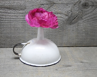 Enamelware Sweden White Funnel with Black Handle and Blue Rim