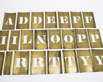 Brass Stencil Letters Assorted Lot of 23 Varied