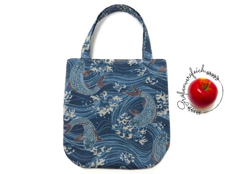 77eeeb1d741b2 Kids bag JAPAN, tote bag, pouch, blue, koi, shopper, shop accessories,  shopping bag for boys and girls