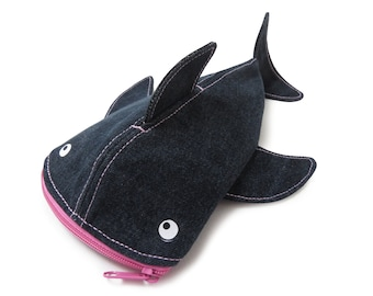 Pencil case shark for school or office