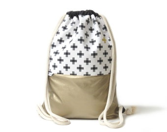 Gym Bag leatherette and cotton fabric