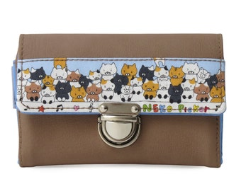 Wallet faux leather and cats Neko Picker