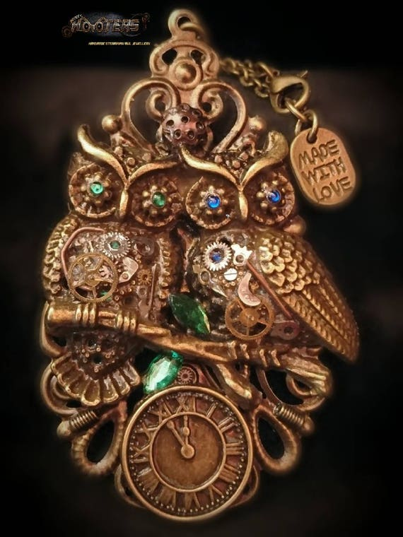 "Steampunk ""Pair of Hooters"" owl necklaces"