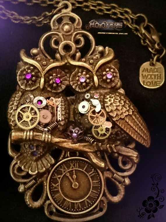 "WHOLESALE! Steampunk ""Pair of Hooters"" owl necklaces x10"