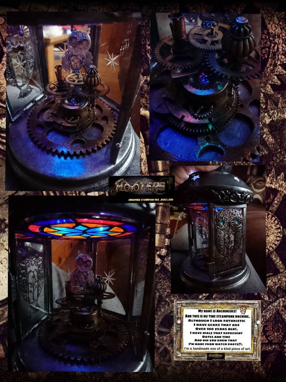 REDUCED ** Steampunk hooters unique Archimedes owl time machine lantern LED centerpiece light