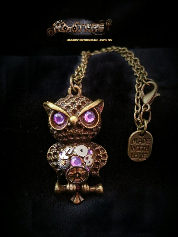 Custom Steampunk owl necklaces