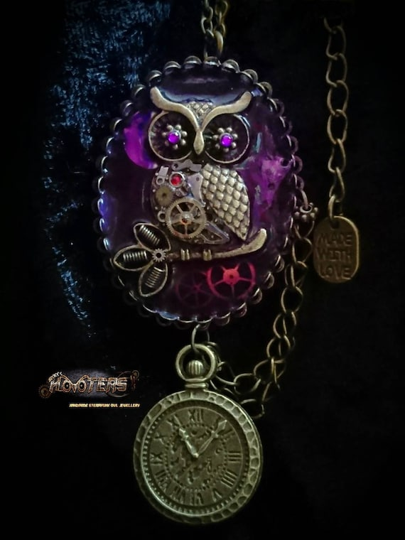 REDUCED ** Deluxe steampunk hooters Owlfie owl cameo frame