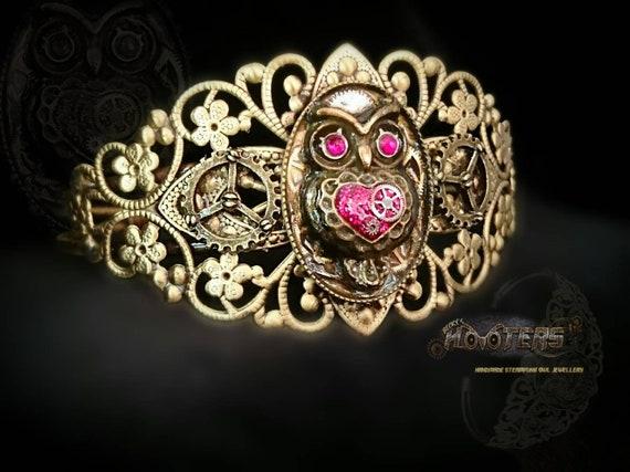 Steampunk hooters owl cuff style filigree bracelet