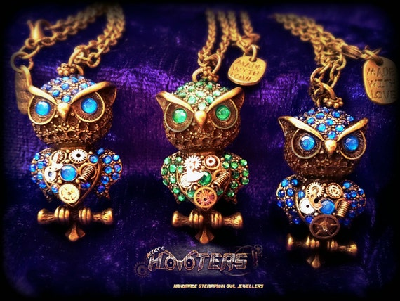 WHOLESALE!  20x deluxe steampunk hooters owl necklaces