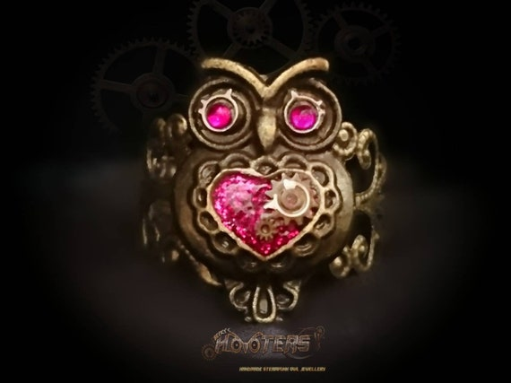 Steampunk Hooter's owl filigree style adjustable ring