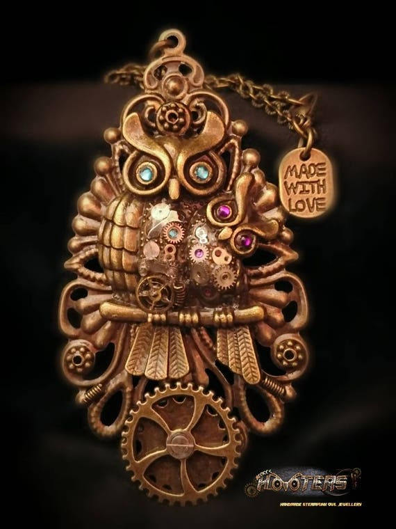 "Steampunk ""Mother hoot & hootlet"" owl necklaces"