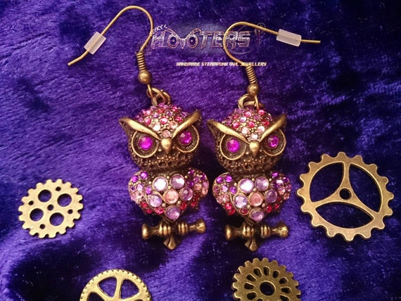 Becky's Hooters deluxe rhinestone owl earrings