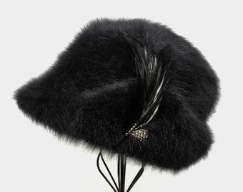 Kangol Women s Black Angora Blend Fedora Trilby Hat   Small 54cm 21
