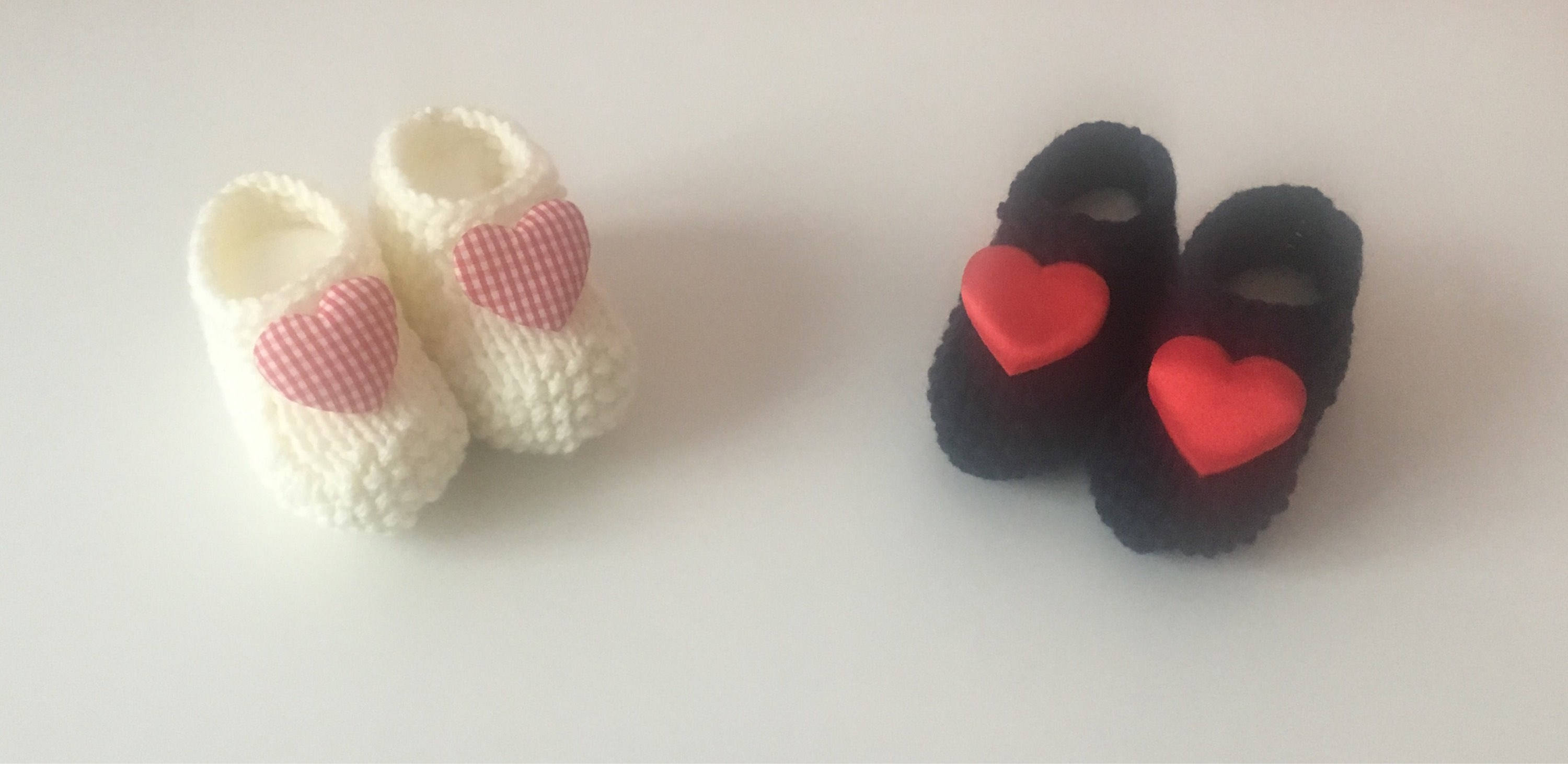 Valentine S Day Hand Knitted Baby Booties 0 12months Old Etsy