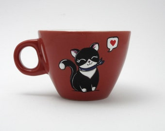 Large espresso cups and saucers with black kitties,  girlfriend gift, customized gift