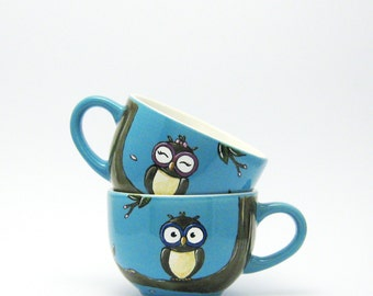 Owls - Summer - Turquoise - Spring - Espresso cups - His&hers - hand painted in Italy