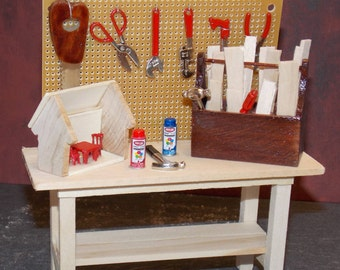 Dollhouse Miniature Tool Work Bench with Tools A  1:12 One Inch Scale  Dollys Gallery  F31