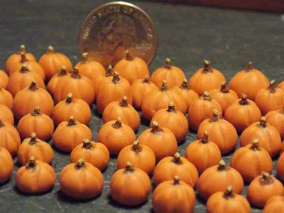 Dollhouse Miniature Fall Halloween Pumpkins Black 6pc 1:12 H26 Dollys Gallery