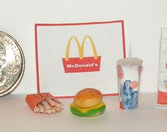 Dollhouse Miniature Take Out Food Combo Set M 1:12 one inch scale  H116
