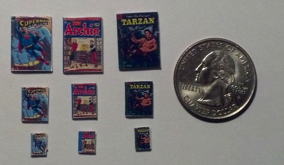 Dollhouse Miniature Comic Books Tarzan Archie Superman 1:12 One Inch Scale H100