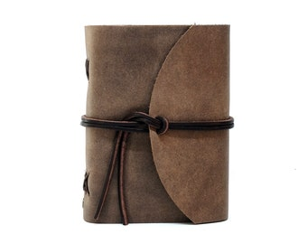 Leather Book Diary Notebook - Vickys World Box OX Raw Cocoa Din A6 with 400 pages - Free personalization