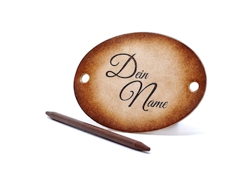 Leather Hair slide - OX Antique - Vickys World - Your name - Text as engraving - Hair clip leather